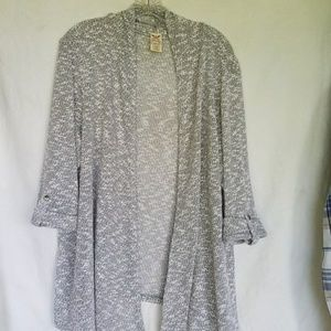 Faded Glory knit gray cardigan open front, size 2X
